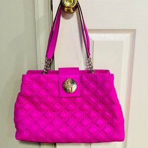Kate Spade quilted hot pink leather handbag
